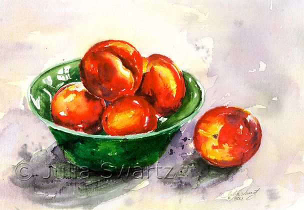 Nectarines in a green bowl painted in watercolor by Julia Swartz.