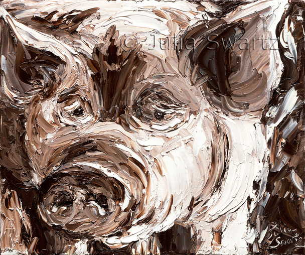 This palette knife oil painting seems up close to be a plethora of umber and white lines swimming side by side, but when seen at a distance it reveals itself as a careful portrait of a pig.  The hopeful snout literally springs out of the painting with the heavy texture of paint.