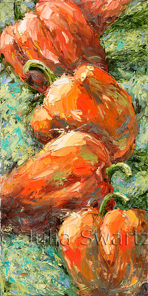 A still life impressionism vegetable oil painting of orange peppers by Julia Swartz, Lancaster PA.