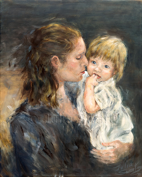 Figure watercolor painting of a Mother and daughter by Julia Swartz.