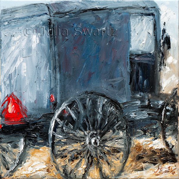 A close up view oil painting of an Amish buggy in Lancaster county PA by Julia Swartz.