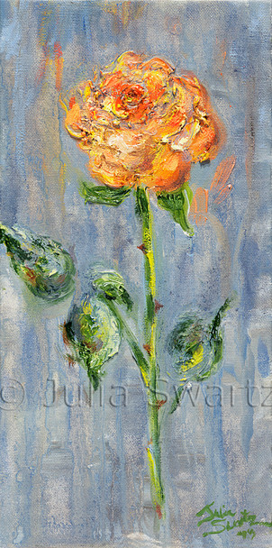 An Orange Calla Lily Flower painted close up with oil on canvas by Julia Swartz Lancaster PA