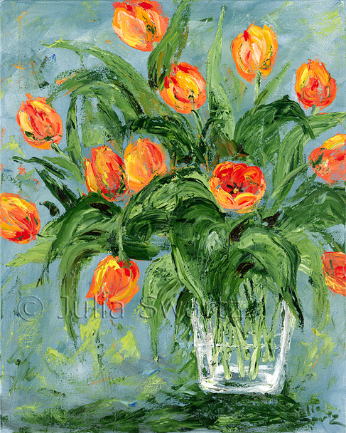 An impressionist oil painting of orange tulips in a glass vase by Julia Swartz. Lancaster PA.