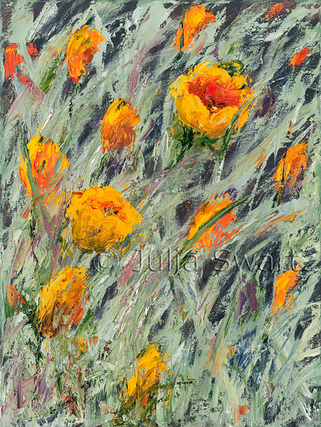 An Original Orange tulips Oil paintings by Julia Swartz.