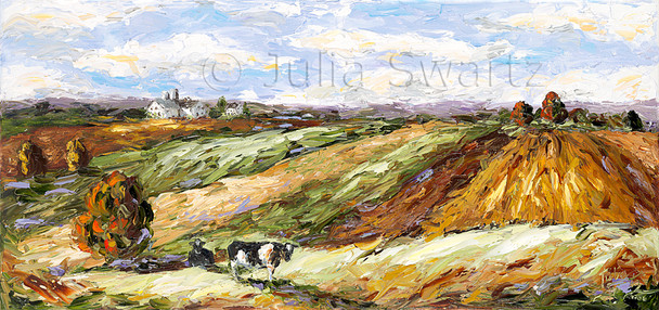An oil painting of cows in a meadow of the rolling hills of Lancaster county by Julia Swartz.