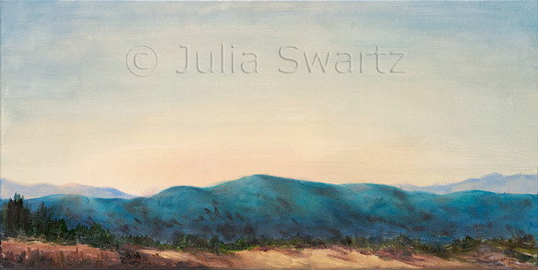 An oil painting of the sun setting over the hills in Arizona by Julia Swartz.