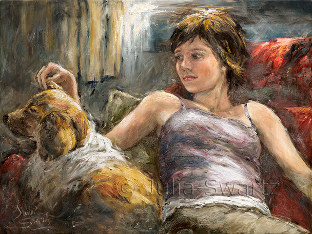 A portrait of a young lady and her dog sitting on a chair in oil on canvas.