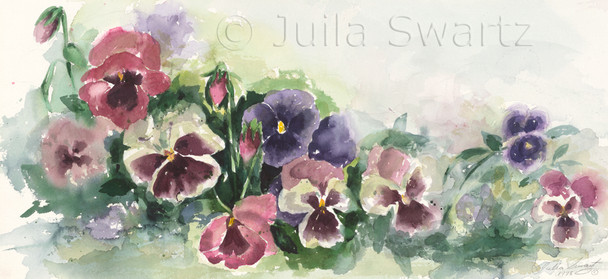 A second watercolor painting of Pansies by Julia Swartz