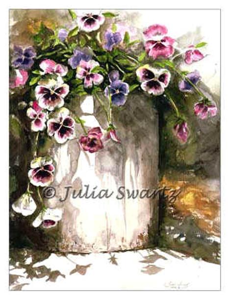 A watercolor painting of pansies in an old crock by Julia Swartz.