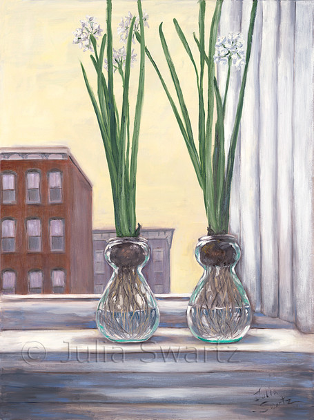 Two paper White bulbs blooming in glass vases in a second floor window against the Lancaster city skyline. Painted by Julia Swartz.