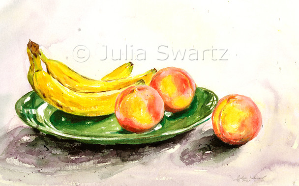 A watercolor of peaches and bananas in a green bowl by Julia Swartz