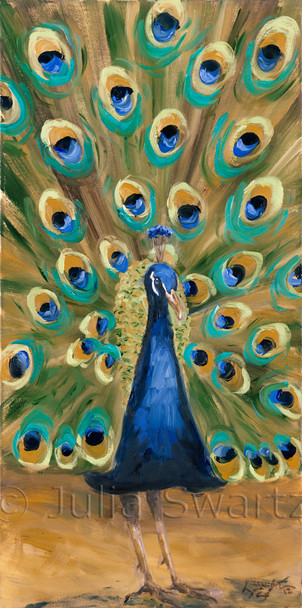 A second oil painting of Peacock close up and his bright colorful feathers by Julia Swartz