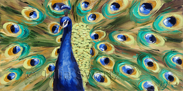 A third oil painting on canvas of Peacock close up and his bright colorful feathers by Julia Swartz.