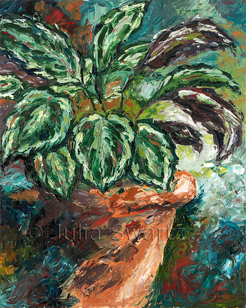 This oil painting is one in Julia's leaf series. It is a peacock plant in a large clay pot