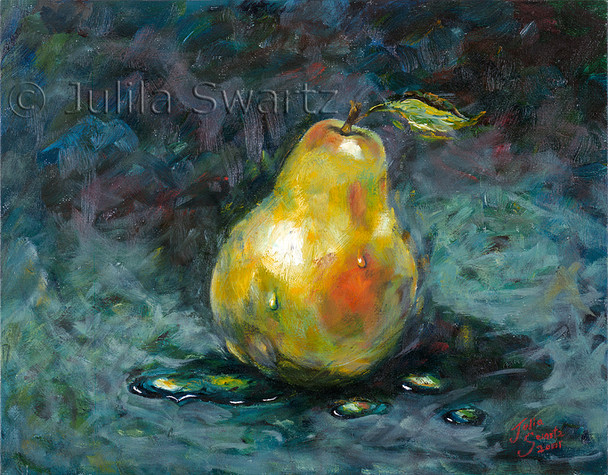 Another oil painting of a single green pear by Julia Swartz.