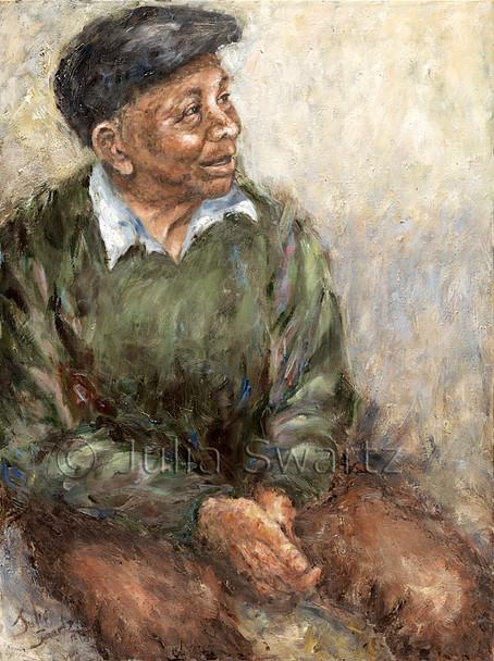 A portrait oil painting of an elderly dark skinned gentleman by Julia Swartz
