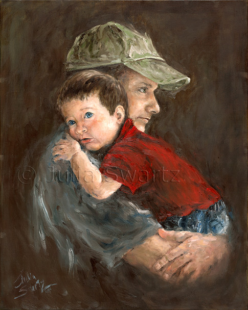 This is as beautifully rendered and more realistic portrait of Julia's son and her grandson Caleb.