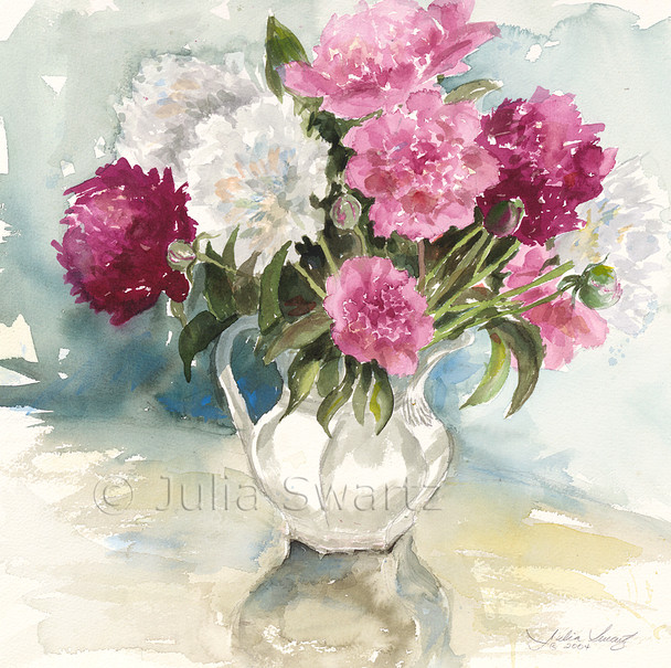 These peonies have been a perfect inspiration for this beautiful watercolor painting by Julia Swartz