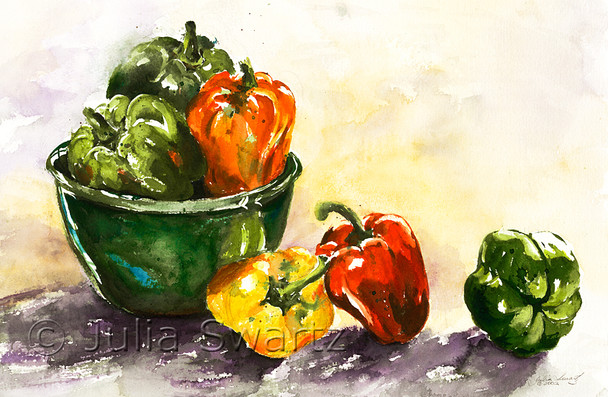 A watercolor painting of green, yellow & red peppers in a green bowl by Julia Swartz.