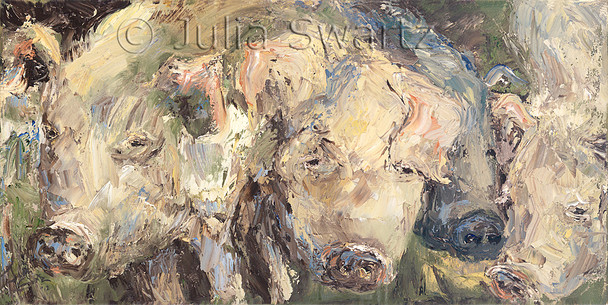 A close up impressionistic oil painting of five pigs by Julia Swartz.