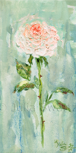 An impressionist oil painting of a single pink rose by Julia Swartz Lancaster PA