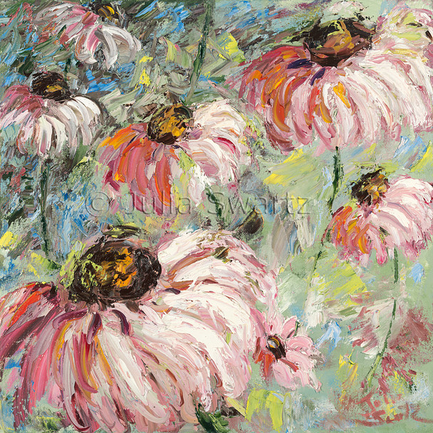 An impressionist oil painting of Pink Cone flowers by Julia Swartz, Lancaster PA