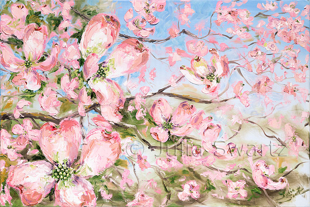 A sprig of pink dogwood blooms close up painted with oil on canvas. Painted by Julia Swartz.
