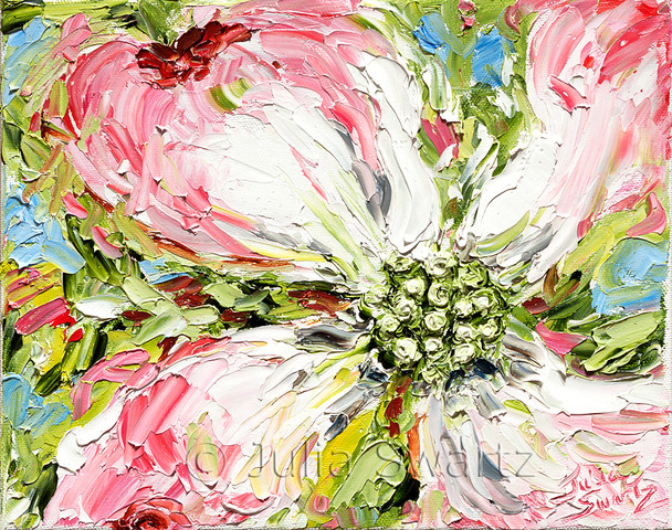 Another very impressionistic palette knife oil painting of pink dogwood flowers by Julia Swartz