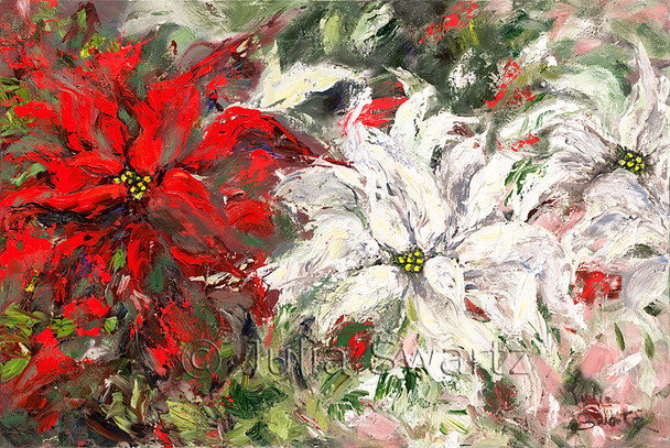 An oil painting of Red & White Poinsettia by Julia Swartz, Lancaster PA