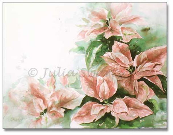 A watercolor painting of pink poinsettia flowers by Julia Swartz.