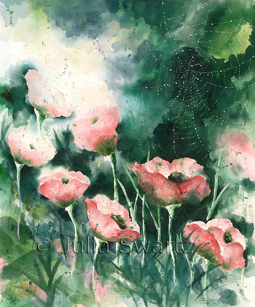This wonderfully soft watercolor painting depicts a row of poppies and a spiderweb heavy with morning dew by Julia Swartz.