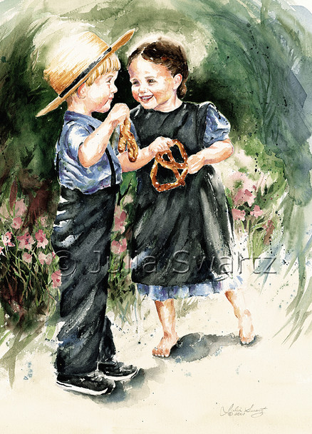 A watercolor painting of two Amish children eating soft pretzels by Julia Swartz.