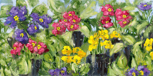 An Impressionist oil painting of purple, pink and yellow primrose flowers by Julia Swartz Lancaster PA