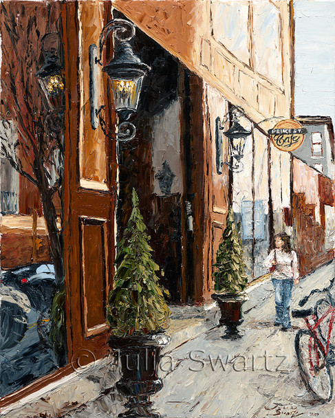 An oil painting of the Prince St Cafe in Lancaster PA by Julia Swartz