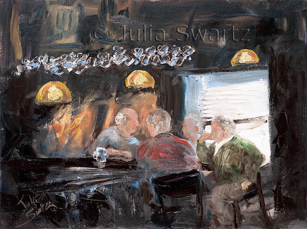 An Original Figure Oil paintings by Julia Swartz of four men at the bar in an Irish Pub.