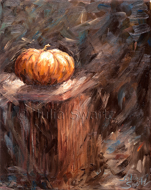 In this oil painting we see another staple of autumn, the pumpkin by Julia Swartz.