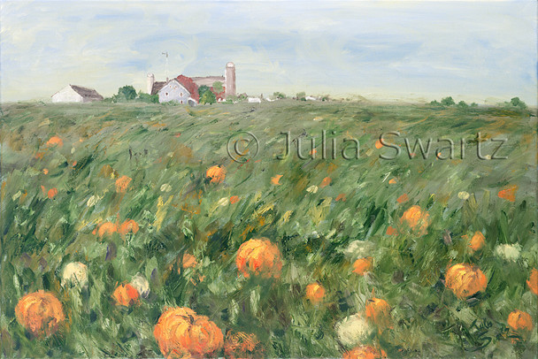 A landscape oil painting of a field of pumpkins with farm buildings in the distance by Julia Swartz.