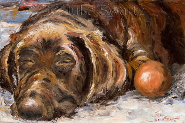 In this oil painting we see Gideon all tuckered out after a hard day playing with his ball.