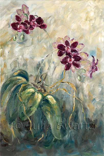 An impressionistic oil painting of a Purple Orchid by Julia Swartz, Lancaster PA