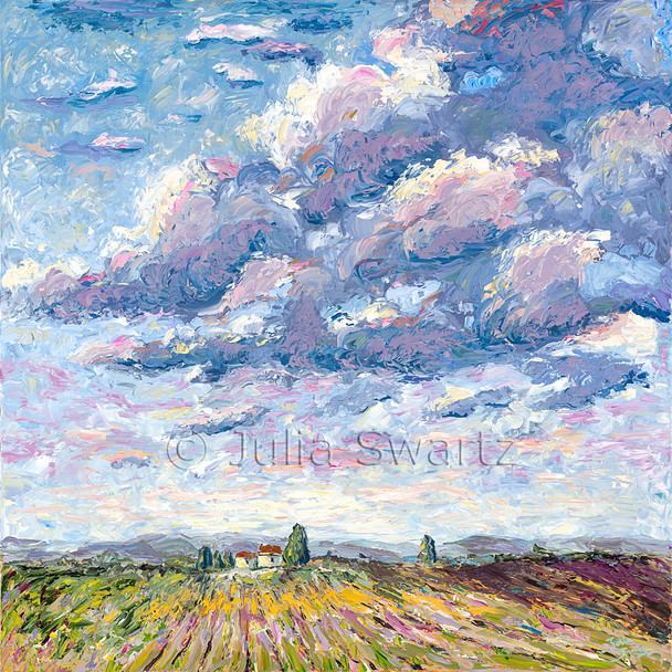Julia's favorite part of this captivating skyscape is the overturned earth of the harvested cornfield in the foreground. This oil painting was painted on canvas using palette knives.