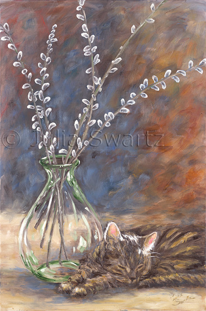 Pussy willows in a glass vase painted in oil on canvas and Max the cat, sleeping nearby with the sunlight glowing through his ears by Julia Swartz
