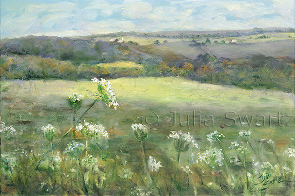An impressionist oil painting of Queen Anne's Lace in a field by Julia Swartz.
