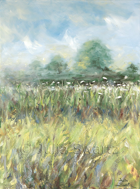 An impressionist oil painting of a row of Queen Anne's Lace in a field by Julia Swartz Lancaster PA.