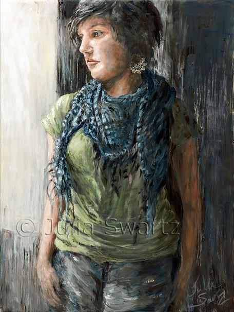 A portrait oil painting of Rachel