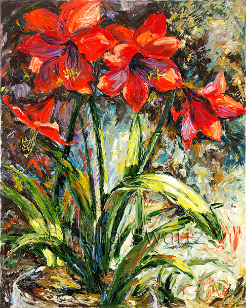 Once again Julia has captured another intriguing composition of the red amaryllis flower with oil paint.