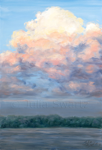 The setting sun is lighting up the pillar of clouds while pine lake below is getting dark. This oil painting on canvas was painted by Julia Swartz. Pine lake is in Canada.
