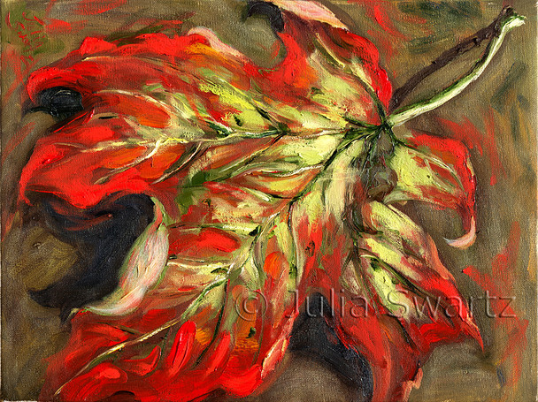 One in a series of two maple leaf pieces, this small oil painting gives close study to the bright fall colors and curling lines of this single leaf.