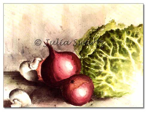 A watercolor painting of Red onions, mushrooms, and cabbage by Julia Swartz