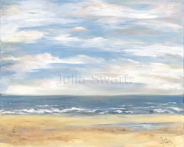 An oil painting of beach, ocean and sky at Outter Banks by Julia Swartz, Lancaster PA