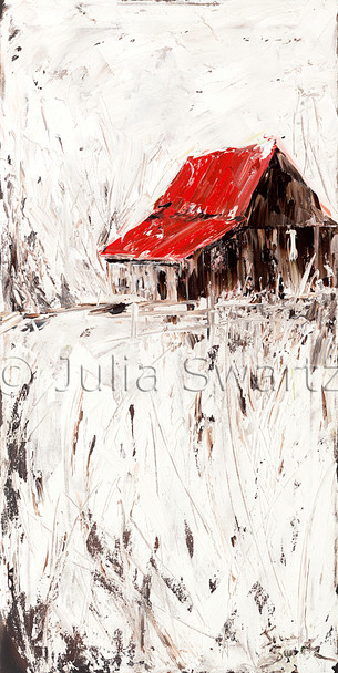 A landscape oil painting of an old Barn with a red roof and with snow around by Julia Swartz, Lancaster PA.